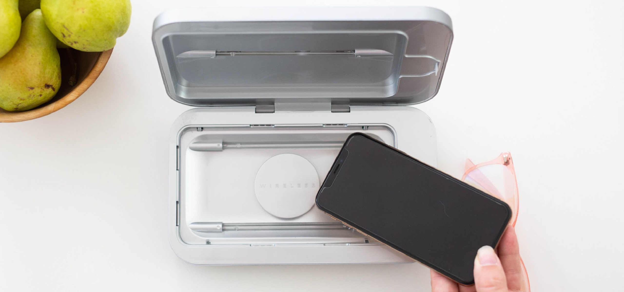 PhoneSoap Wireless on kitchen counter